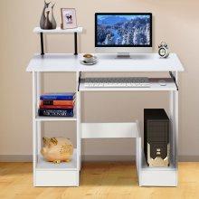 White Wooden Computer Desk Laptop PC Table Shelves Workstation