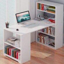 Corner Computer Desk H Shaped Laptop Table Book Shelves Bookcase
