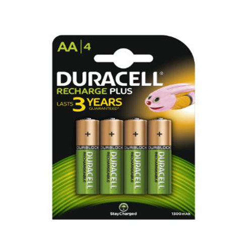 4 Duracell AA 1300 mAh PRE STAY CHARGE Rechargeable Batteries NiMH HR6,1.2V