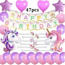 Cebelle Unicorn Birthday Party Supplies Decorations Favors Purple Pink, 47pcs Party Pack, Happy Birthday Banner, 2 Huge Unicorn Balloons, 6 Unicorn...