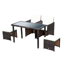 Outsunny 5PC Rattan Dining Set Foldable Tables and Chairs w/ Footrest Garden