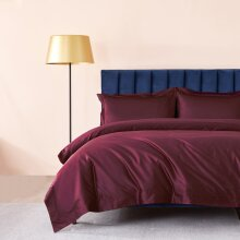 300 Thread Count F-Q Duvet Cover Set Egyptian Cotton Solid-Burgundy