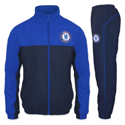 (Blue, Small) Chelsea FC Official Football Gift Mens Jacket & Pants Tracksuit Set