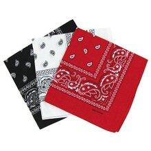 Cotton Paisley Bandana Scarf Headband 3 Pack Red White Black