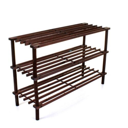 (3 Tier Slatted Walnut) Shoe Rack Shoe Storage Organiser Unit Portable Storage Stand Pairs Trainers Wood