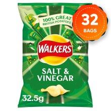 32 Bags of Walkers Salt & Vinegar Crisps 32.5g