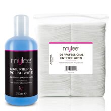 Mylee Gel Prep & Wipe Gel Nail Polish Finishing Wipe Residue Cleaner Remover 250ml + 100x Lint Free Wipes Kit, Preparation & After Care, UV LED Gel