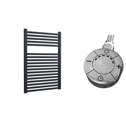 Lazzarini Roma Straight 25mm Anthracite Ladder Heated Towel Rail 842mm x 600mm Electric Only - Thermostatic