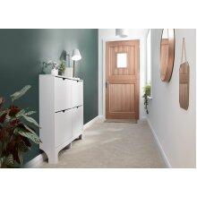Narrow High Gloss 4 Drawer Hallway Shoe Storage Cabinet - White