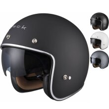 Black Classic Open Face Motorcycle Scooter Helmet