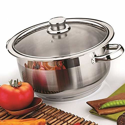 (8.5 Ltr) Stainless Steel Casserole Stockpot Induction Base Large Deep Stock Pot Glass Lid