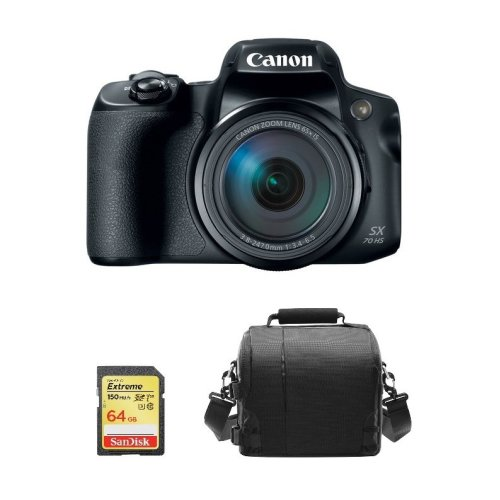 CANON PowerShot SX70 HS Black + 64GB SD card + camera Bag