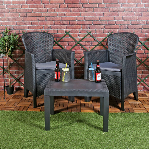 3pc Outdoor Garden Furniture Cushioned Black Table Chair Set