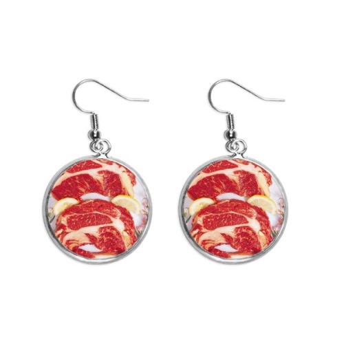 Steak Raw Meat Food Texture Ear Dangle Silver Drop Earring Jewelry Woman