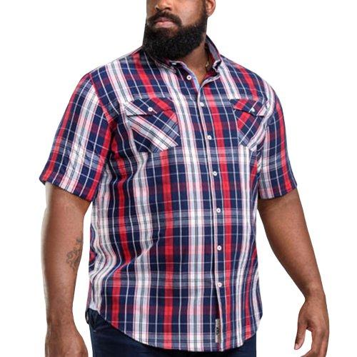 Duke D555 Mens Terell Big Tall King Size Check Button Up Shirt Top - Navy/Red