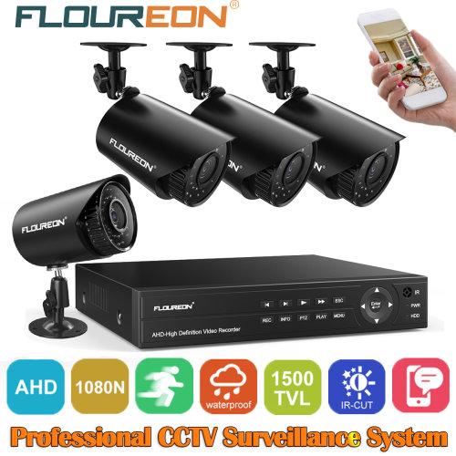 FLOUREON 4CH 1080N CCTV DVR 1500TVL Outdoor Camera IR Security System