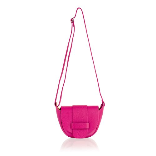 """Woodland Leather Fuchsia 8.0"""" Small Cross Bag Fixed Adjustable Shoulder Strap"""