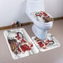 3 Pcs/set Toilet Seat Cover Mat Floor Carpet Set Christmas Bathroom Coral Velvet Non-slip Mat