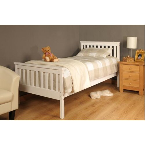 (3ft Single, White) Talsi Wooden Bed Frame with Tanya Mattress
