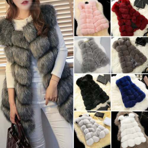 Womens Winter Warm Faux Fur Gilet Vest Sleeveless Waistcoat Jacket Coat Outwear