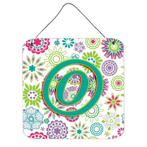 Letter O Flowers Pink Teal Green Initial Wall and Door Hanging Prints