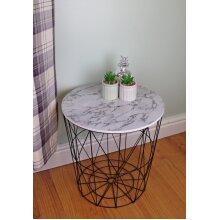 Circular Geometric Side Table Black & Marble Effect