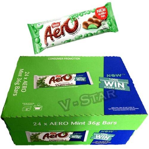Full Box of Nestle AERO Peppermint Chocolate BAR 24 x 36g