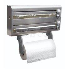 3in1 KitchenCraft Cling Film Foil Dispenser Paper Towel Holder Silver