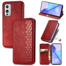 OnePlus 9 Case Premium PU Leather Folio Cover Magnetic Red