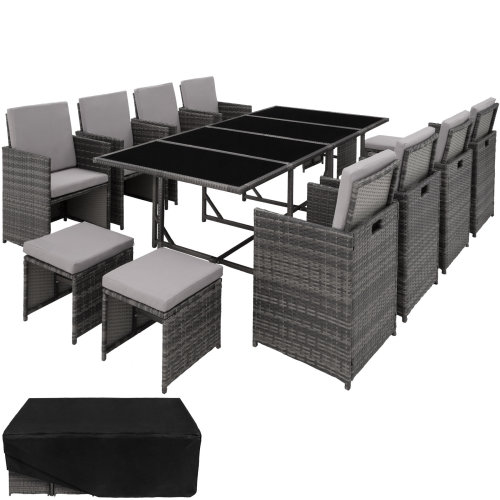 Rattan garden furniture set Palma 8+4+1 with protective cover, variant 2 grey