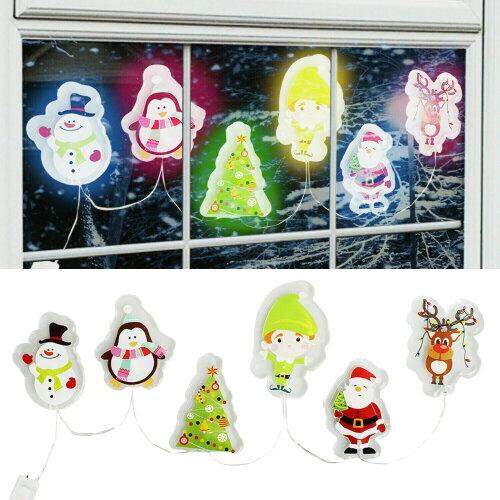 Christmas LED Light Up GEL Window Stickers 15 X 30cm