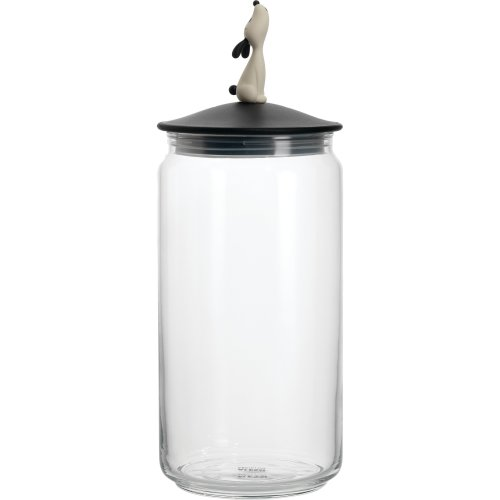 A Di Alessi Lulàjar Glass Jar for Dog Food with Lid in Thermoplastic Resin, Black