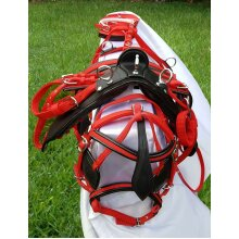DRIVING CART HORSE HARNESS SET TWO TONE RED / BLACK FOR SINGLE HORSE ALL SIZES