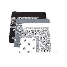 Pack Of 3 Printed Pattern Black,Grey & White Cotton Bandana
