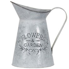 "Flowers & Garden"" Slogan Galvanised Finish Jug Planter Use as a Planter or Decorative Ornament."