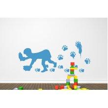 Bear Hands Wall Stickers Art Decals - Large (Height 57cm x Width 130cm) Blue