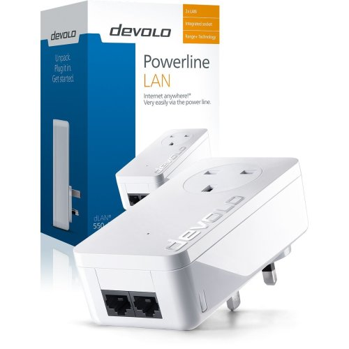 devolo dLAN 550 duo+ Powerline adapter (500 Mbps, 2x LAN ports, white