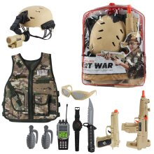 deAO Military Soldier Camouflage Desert War Costume Set with Helmet, Toy Shotgun, Toy Grenades, Military Soldier Accessories and Storage Backpack