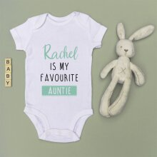 Personalised Baby Grow 'Favourite Auntie' - Green