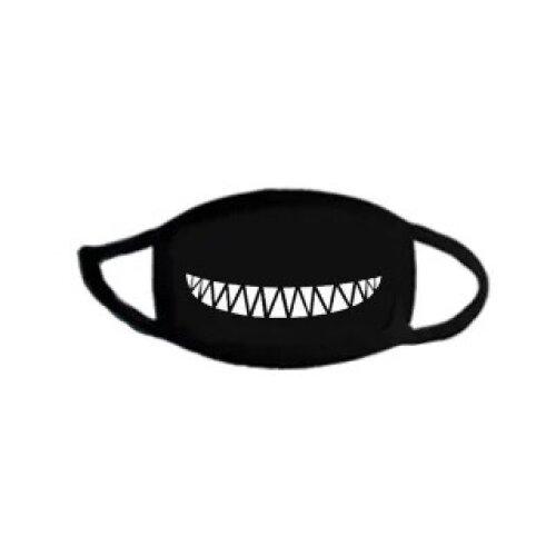 (Black/Belly Laugh) Cute Face Mask Cover Washable Reusable Cotton