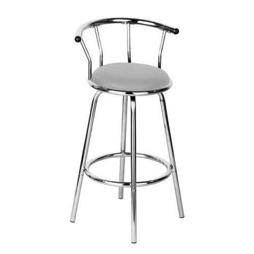 Premier Housewares Bar Stools Revolving Breakfast Bar Stool Grey Kitchen Stools / Padded Outdoor Bar Stools Chrome Frame Stool Chair 97 x 53 x 46