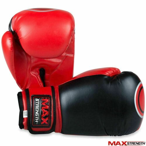 (Red, 10oz) Rex Leather Punch Boxing Gloves Kick Fight Martial Arts Training Muay Thai Mitts