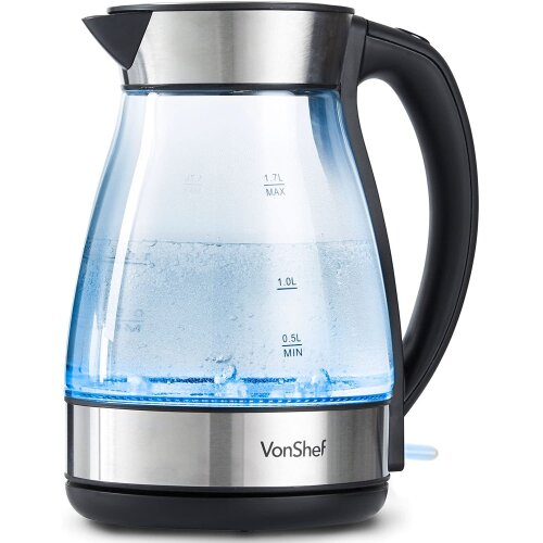 VonShef Electric Glass Kettle – Large 1.7L Capacity, with Striking Blue LED Illumination. Remo