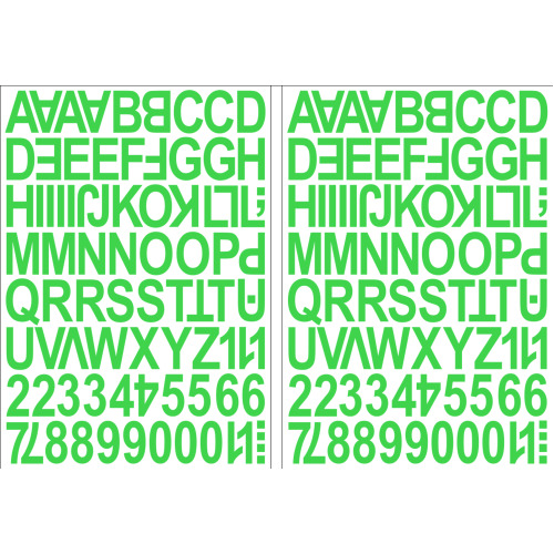 (Light Green) Alphabet Letters & Numbers Stickers Label Peel Off Sticky 2.5cm High Mixed