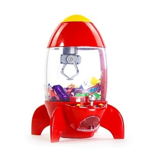 Global Gizmos Rocket Shaped Candy Grabber with Sound & LED Party Arcade Machine Sweets Dispenser