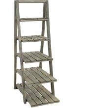 idooka Tall Wooden 5 Tier Storage Shelf Leaning Ladder Effect Bookcase Bookshelf Planter Flower Plant Pot Display Stand Grey Wood Wash