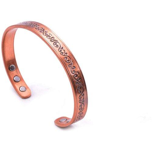Sale! Stunning Antique Magnetic Copper Bracelet for Men Women Arthritis; 8mm Width; 99.9% Copper; Beautiful Patterned Design; Magnetic Healing (6 Magn