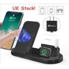 UK Stock! 3 in 1 Wireless Charging Station for Apple -Black
