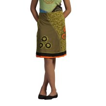 Ladies Cotton Mini Skirt With Wide Elasticated Waistband Print & Patch Design