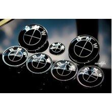 Modifix Shop - BMW Black Emblem Bonnet Badge Rear Badge Wheel Centre Caps Steering Wheel Sticker 7pcs Set